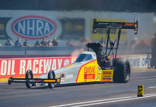 NHRA top fuel driver Tony Schumacher during qualifying for the 2020 US Nationals at Lucas Oil Raceway in Indianapolis.