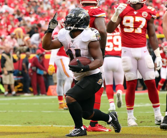 RB Mark Ingram's (21) Ravens will try to knock off the reigning champion Chiefs on Monday night.