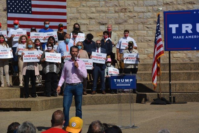 Donald Trump Jr. giving his remarks to a crowd of supporters Wednesday at the Roxbury Bandshell in Johnstown, Pennsylvania. Staff photo by Bruce Siwy