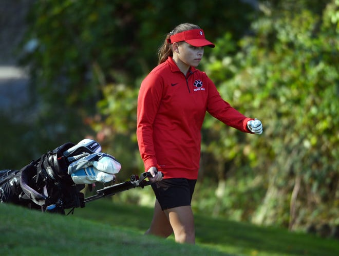 Moon's Rhianna Firmstone pulls her bag to the next tee during the WPIAL girls golf qualifiers. FIrmstone finished in the top eight at the WPIAL Class 3A championship at Oakmont Golf Course.