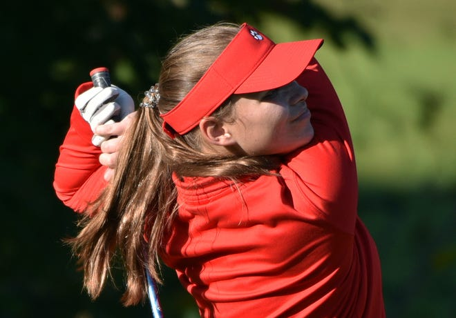 Moon's Rhianna Firmstone hits from a tee during the WPIAL girls golf qualifiers Wednesday at Black Hawk Golf Course.