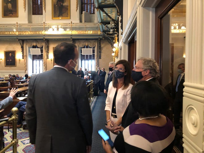 South Carolina Lt. Gov. Pamela Evette, center, speaks to House members during the session Tuesday at the Statehouse in Columbia. It was Evette's first public appearance since being diagnosed with COVID-19 on Sept. 11.