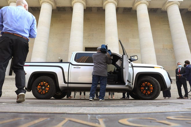 Lordstown Motors brought its prototype electric pickup truck to the Statehouse to show state legislators and others Wednesday. Executives there say the truck's name, Endurance, represents the struggles and triumphs of the automotive industry in Ohio.