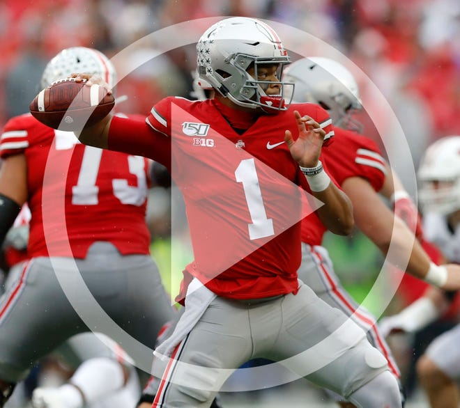 Ohio State Buckeyes quarterback Justin Fields (1) throws a pass during the third quarter of the NCAA football game against the Wisconsin Badgers at Ohio Stadium in Columbus, Ohio on Saturday, Oct. 26, 2019. Ohio State won 38-7.