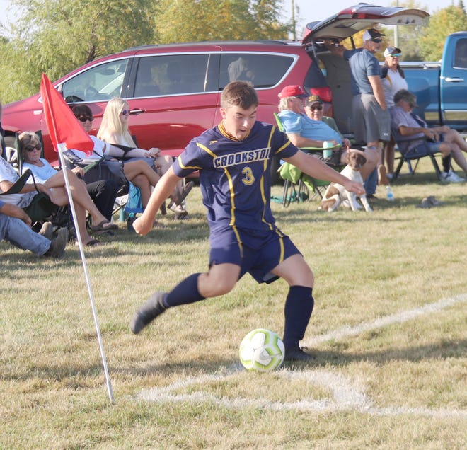 Jacob Miller in a game against Detroit Lakes on Sept. 24. Miller scored in the 50th minute of Monday's 2-1 playoff loss at East Grand Forks, a loss that ended Crookston's season at 2-9.