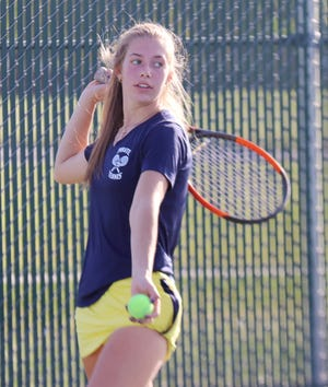 Emma Borowicz, in her first match of the season, won with Catherine Tiedemann at No. 1 doubles as Crookston took down Detroit Lakes, 6-1, on Tuesday.