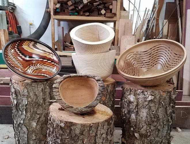 Ordinary blocks of wood from all kinds of trees are turned into handsome bowls, pens, kaleidoscopes and more in the hands of Jim and Rita Duxbury of Graham. The couple is world-known for their skill and artistry in woodworking.