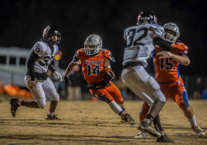 Randleman running back Na'hiem Lilly runs for yardage against Morehead during the first round of the 2-AA NCHSAA state playoff on Nov. 15, 2019.