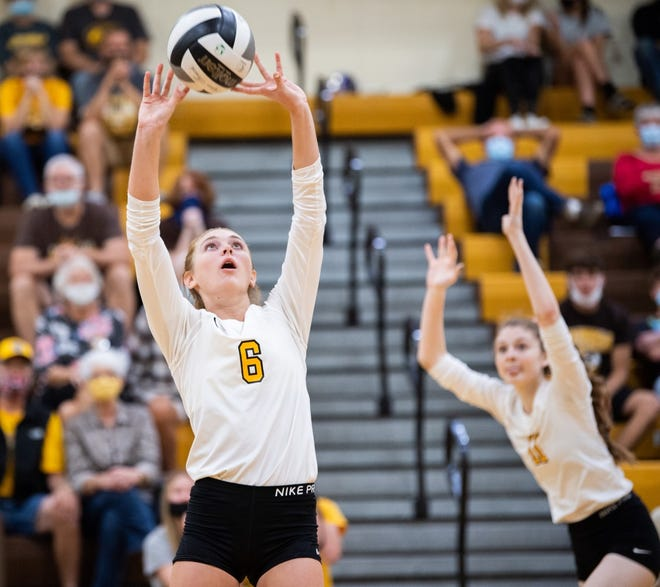 Kelsey Wolfe sets up one of her 33 assists against Dalton during Waynedale's straight-sets win. The senior was honored for reaching 1,000 career assists Tuesday night.