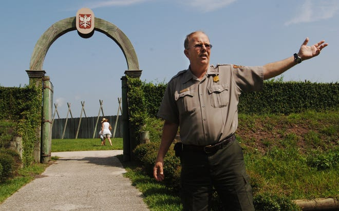 Craig Morris, seen in 2008 outside the replica French fort at Fort Caroline National Monument in Jacksonville, died Tuesday. He spent his entire park ranger career at the Timucuan Ecological and Historic Preserve and was a popular figure there.