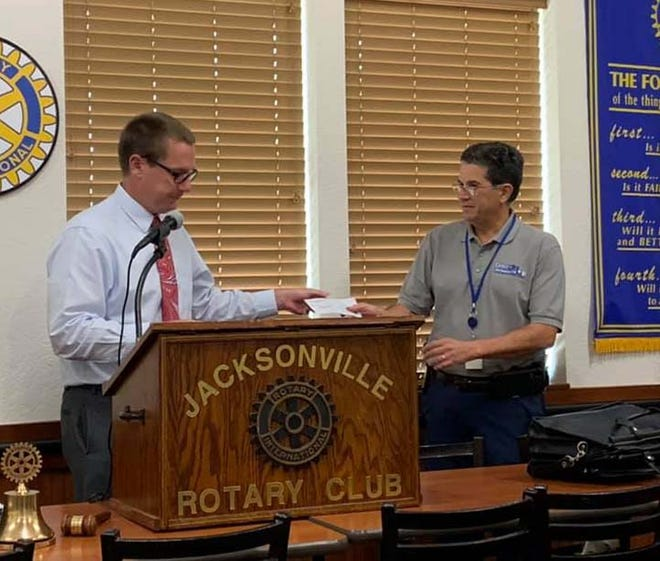 Jacksonville Rotary Club recently donated $2,000 to the Dix Crisis Intervention Center. The check was presented to JPD Chief Yaniero, a proponent for the center.