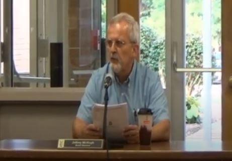 Board President Jeff McHugh at the Sept. 15 school board meeting.
