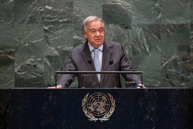 Secretary-General Antonio Guterres speaks during the 75th session of the United Nations General Assembly on Tuesday at U.N. Headquarters in New York. The U.N.'s first virtual meeting of world leaders started Tuesday with pre-recorded speeches from some of the planet's biggest powers, kept at home by the coronavirus pandemic that will likely be a dominant theme at their video gathering this year.