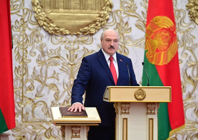 Belarusian President Alexander Lukashenko takes his oath of office during his inauguration ceremony at the Palace of the Independence in Minsk, Belarus, on Wednesday. Lukashenko assumed his sixth term of office in an inauguration ceremony that wasn't announced in advance.