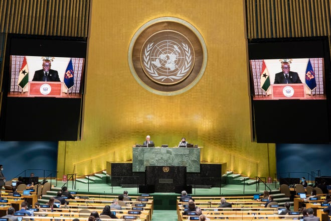 The pre-recorded message of Nana Addo Dankwa Akufo-Addo, president of Ghana, is played during the 75th session of the United Nations General Assembly on Wednesday at U.N. headquarters in New York.