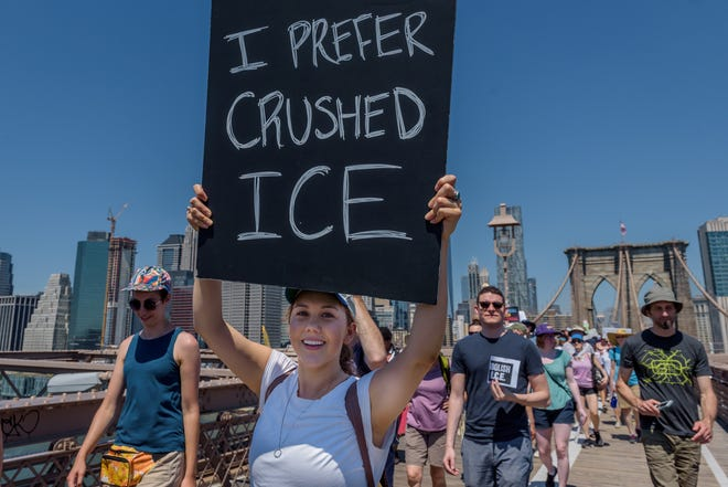 """About 15 thousand New Yorkers march in support of immigrant families and to condemn the Trump administration's """"zero-tolerance"""" policies on June 30, 2018 in New York, N.Y.  [Erik McGregor/Sipa USA/TNS]"""