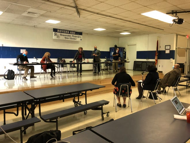 Rootstown School leaders meet with NAACP representatives on Tuesday.