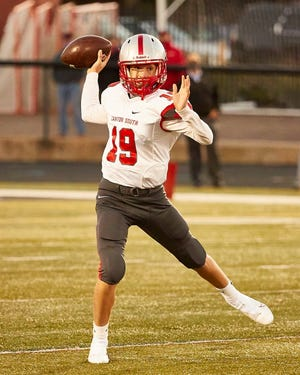 Canton South QB Jack Snyer gets set to throw in a game against Alliance at Mount Union  Stadium, Sept. 18, 2020.