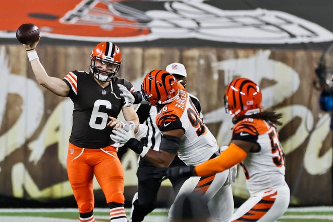 Cleveland Browns quarterback Baker Mayfield (6) passes during the first half of an NFL football game against the Cincinnati Bengals, Thursday, Sept. 17, 2020, in Cleveland. (AP Photo/Ron Schwane)