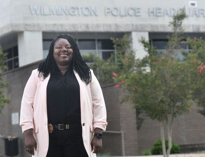 Aricka Sidbury, detective with the Wilmington Police Department, stands in front of the department headquarters in Wilmington, N.C., Monday, August 17, 2020. Sidbury is one of the 40 Under 40 honorees for 2020.