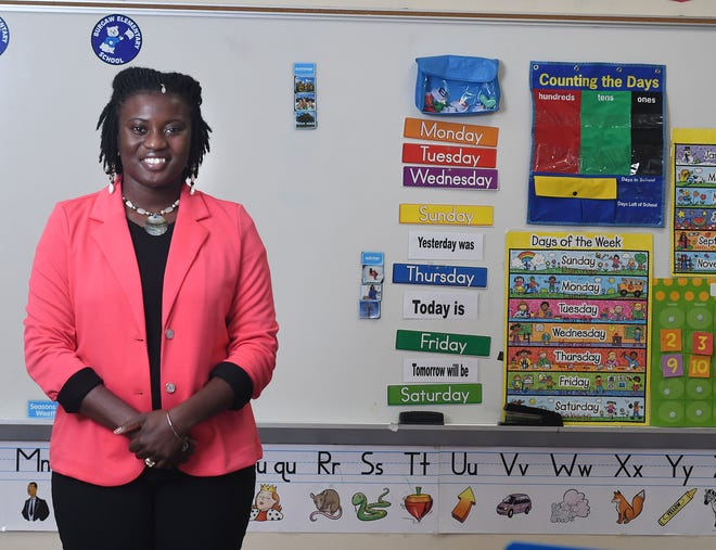 Tiffany Hansley-Jones, an exceptional children's teacher at Burgaw Elementary School, stands in her classroom at the school in Burgaw, N.C., Friday, Aug. 14, 2020. Hansley-Jones is one of the 40 Under 40 honorees for 2020. [MATT BORN/STARNEWS]