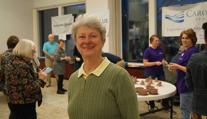 Jefferson Awards winner Patti Peebles of New Bern at last February's Empty Bowl's  Potters' Throw Down at the Harrison Center.