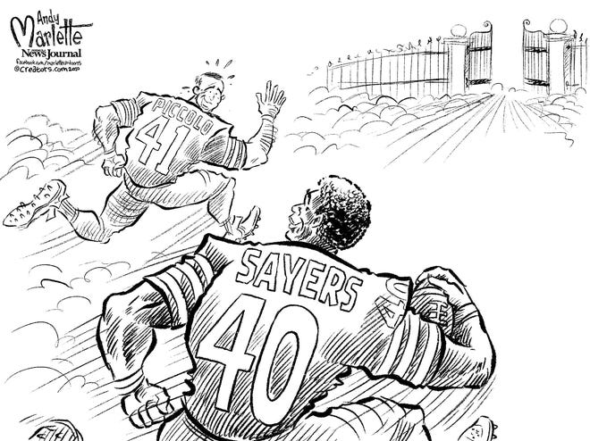 Cartoon: Gale Sayers races to join friend Brian Piccolo