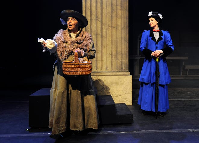 """Abilene Christian University senior Mikayla Tipps plays Mary Poppins and Jeannette Lipfod plays the bird woman in the ACU homecoming Musical """"Mary Poppins"""" which opened on Oct. 16, 2015."""