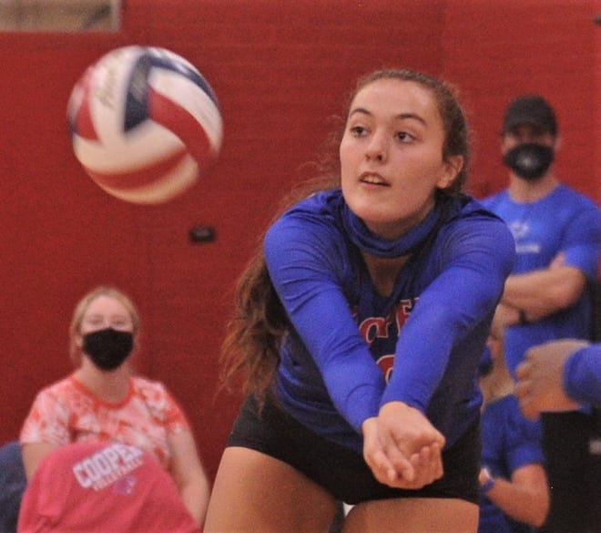 Cooper's Bri Garcia digs an Abilene High shot in Game 3. Cooper beat the Lady Eagles 25-9, 25-23, 25-23 in the nondistrict match Tuesday at Cougar Gym.