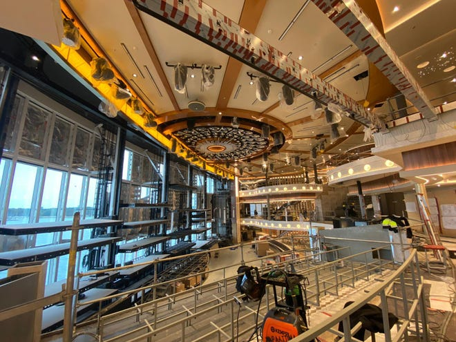 Construction continues at the Meyer Turku shipyard in Turku, Finland, on the three-deck-high Grand Central atrium of the Carnival Cruise Line's Mardi Gras. The ship is scheduled to debut in February at Port Canaveral.