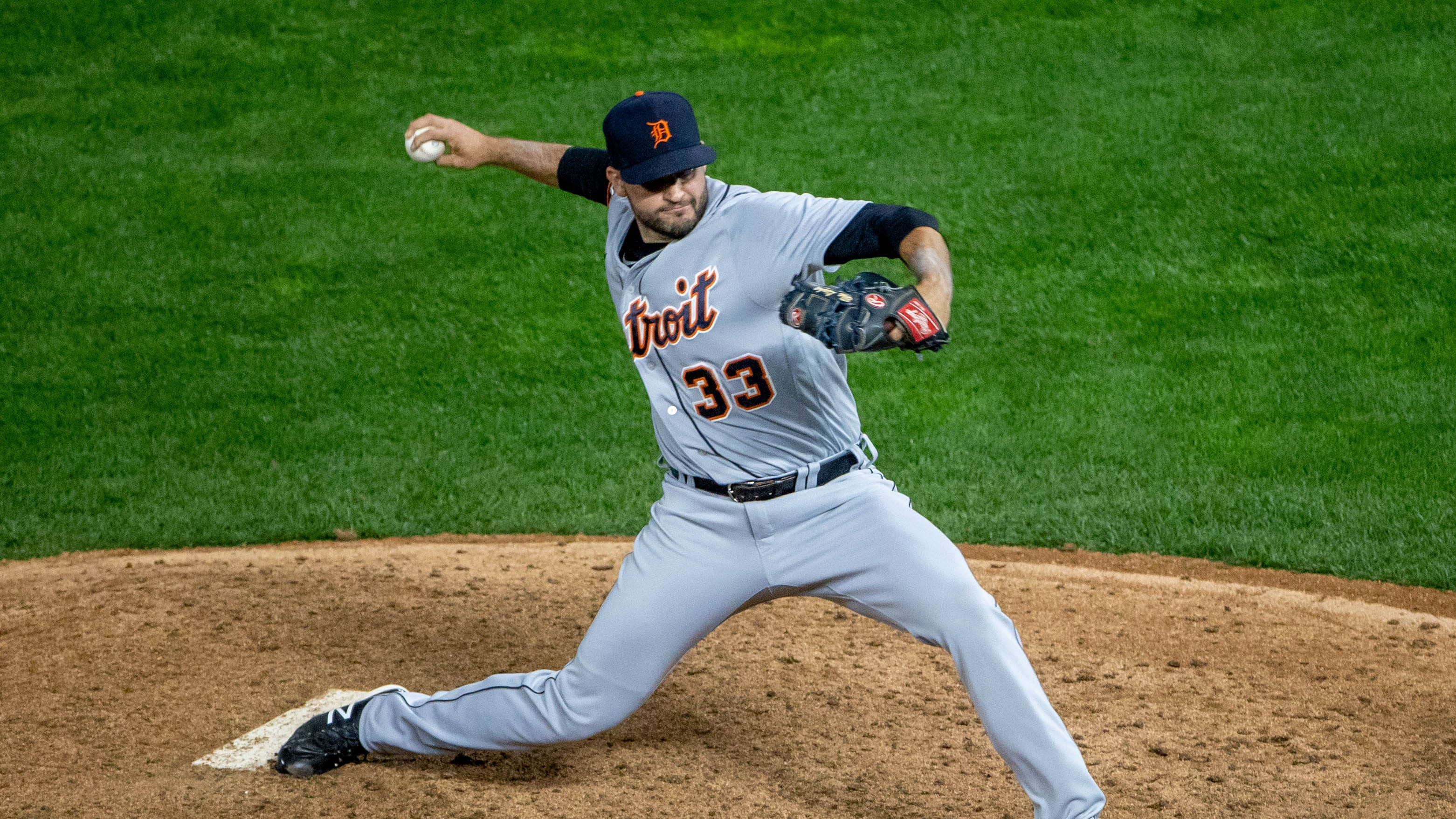 Detroit Tigers reliever Bryan Garcia delivers a pitch in the 10th inning against the Minnesota Twins at Target Field, Sept. 22, 2020.