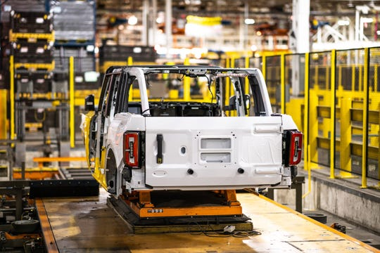 The first early pre-production 2021 Ford Bronco on the assembly line. This image was taken on Tuesday, September 22, 2020 at the Michigan Assembly Plant in Wayne, Michigan.