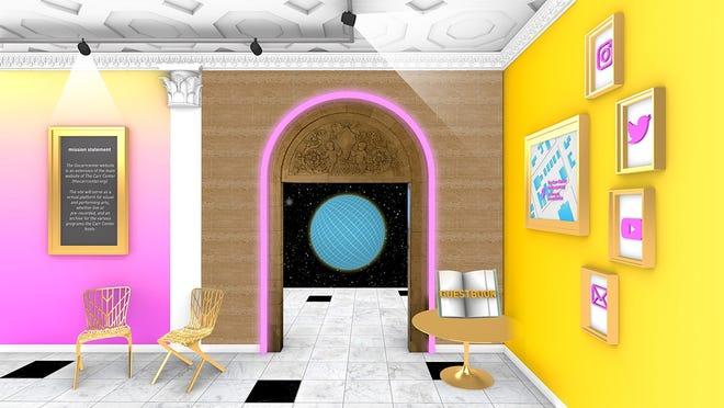 """Mahasiswa arsitektur U-Mich menggunakan elemen aktual dari Park Shelton di mana galeri Carr Center Contemporary memiliki rumahnya dalam desain virtual mereka - termasuk lengkungan tampan di tengahnya """"Lobi."""""""