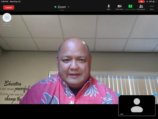Department of Education Superintendent Jon Fernandez is shown during a Zoom meeting on Wednesday. DOE faces a $15 million budget shortfall this fiscal year.