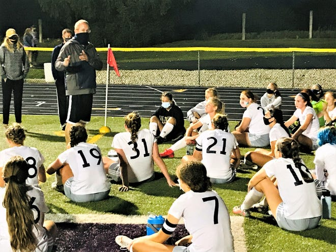Lancaster girls soccer coach Brian Griffin talks with his team during a recent game at Bloom-Carroll. The Lady Gales defeated Groveport, 4-1, Tuesday to improve to 2-0 in the Ohio Capital Conference-Buckeye Division.