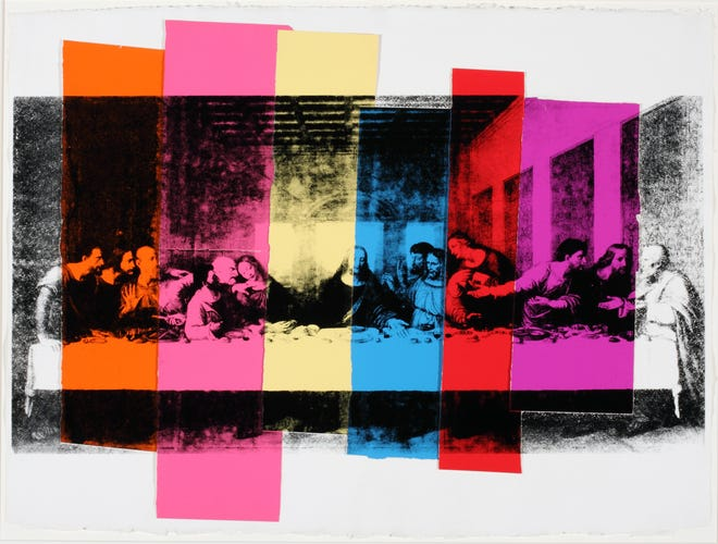 """The Last Supper,"" 1986 screen print and colored graphic art paper."