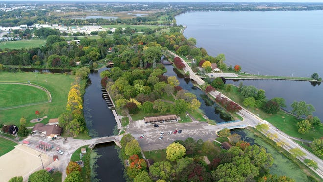 Oven Island at the Lakeside Park, where an amphitheater has been proposed in Fond du Lac, on Tuesday, Sept. 22, 2020. Council members are being asked to consider a Lakeside Park master plan that includes a multipurpose building and an amphitheater in the park.