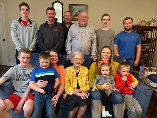 Madea A. Spencer, center, with her grandkids and great-grandkids. Spencer is turning 100 on Oct. 8, 2020.