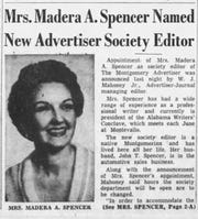 The 1955 Montgomery Advertiser story in which Madera A. Spencer was announced as the Advertiser's society editor.
