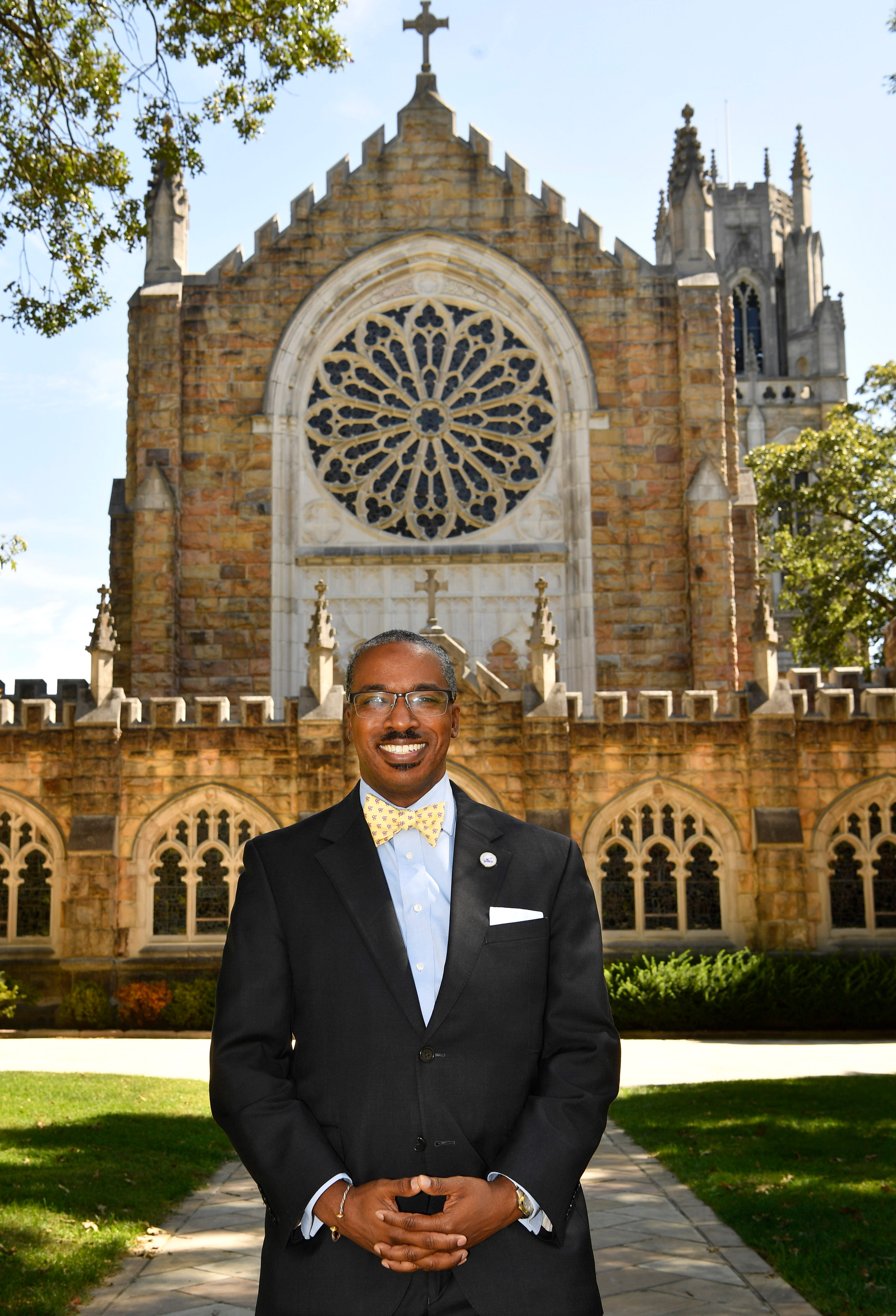 President and Vice-Chancellor Reuben E. Brigety II is the first African American to serve in that post. He stands in front of All Saints Chapel at The University of the South in Sewanee, Tenn. Tuesday, Sept. 22, 2020.