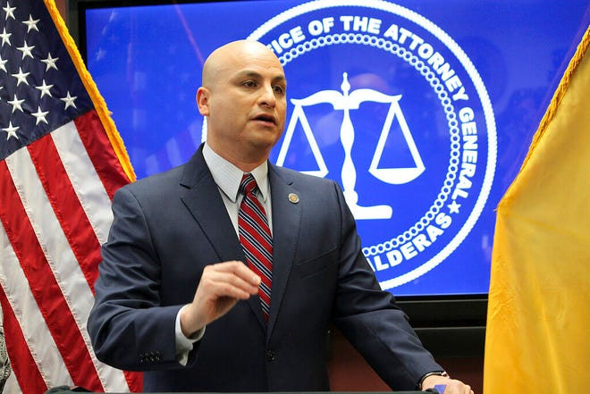 In this Feb. 26, 2019, file photo, New Mexico Attorney General Hector Balderas talks during a news conference in Albuquerque, New Mexico.