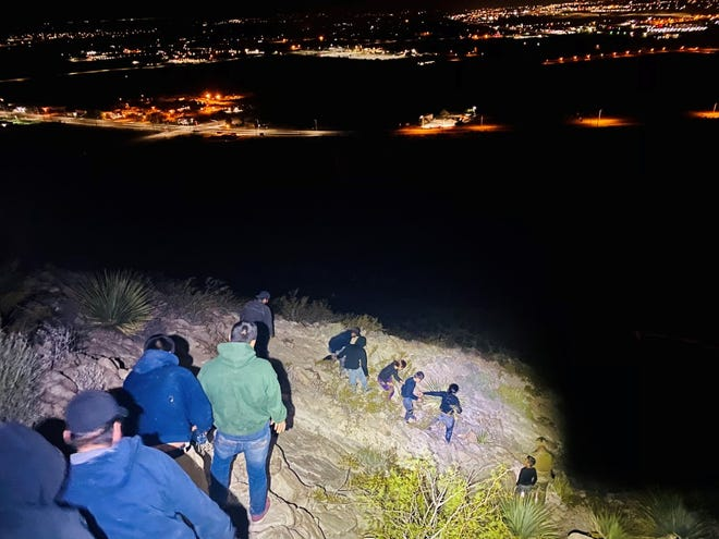 U.S. Border Patrol Agents thwarted several alien smuggling attempts Monday evening, Sept. 21, 2020. People are pictured walking down the mountain.