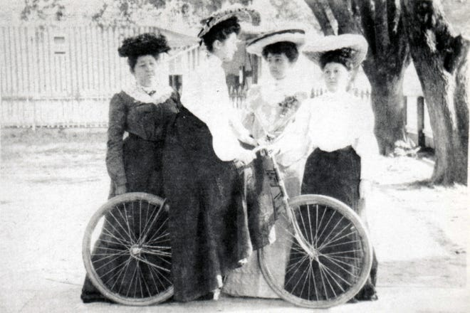 The Chachere women showing off the new mode of transportation in Opelousas in the early 1900s.  Pictured are (l-r):  Mrs. Bob Chachere, Celina Chachere (Mrs. Alvin) Krotz, Pearl Chachere and Eloise Chachere Shute.