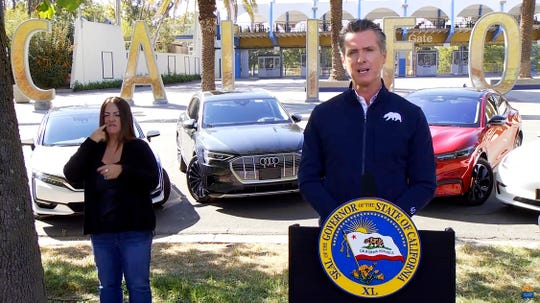California Gov. Gavin Newsom announces an executive order on Sept. 23, 2020, that will have the state halt sales of new gasoline-powered passenger cars by 2035.