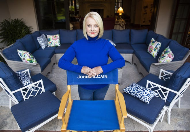 Cindy McCain stands on the patio at her home in Phoenix Sept. 22, 2020. The wife of the late Sen. John McCain (R-Ariz.) endorsed Democrat Joe Biden for president.