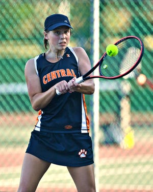 Audrey Stewart, seen here in a file photo, was part of Central York's championship doubles team at the York-Adams League Class 3-A event.