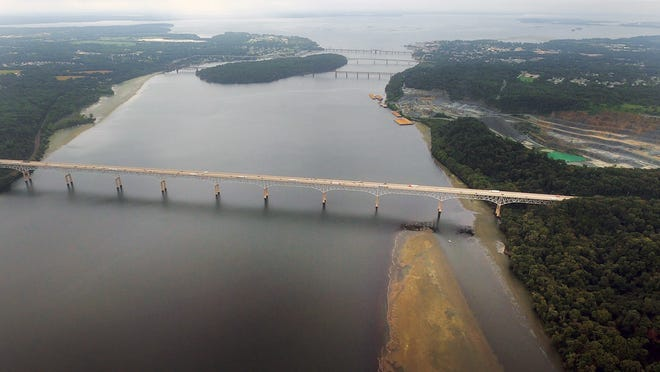 Looking south on the Susquehanna River across the Interstate 95 bridge and Route 40 bridges into the bay September 9, 2020.