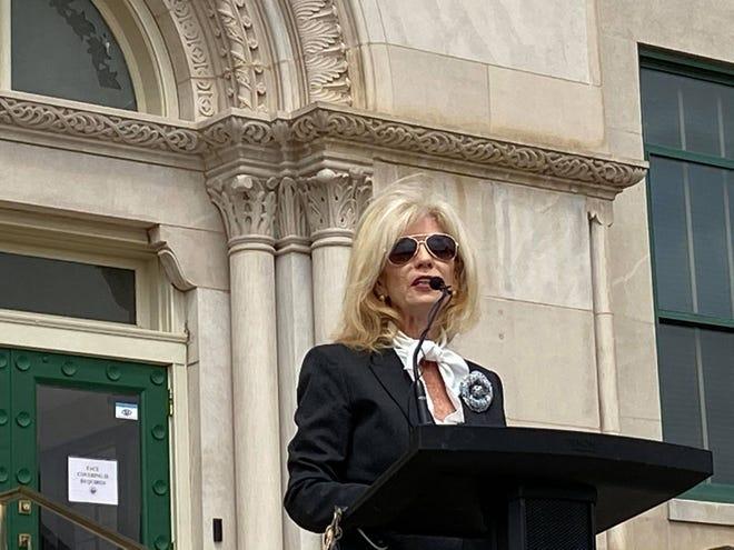San Angelo Mayor Brenda Gunter speaks from the steps of City Hall on Wednesday, Sept. 23, 2020.