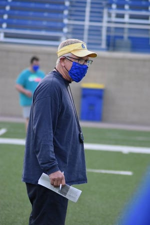 SDSU coach John Stiegelmeier returned to practice Monday at Dana J. Dykhouse Stadium