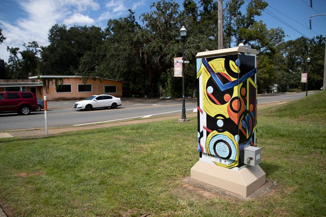 """""""Moving On"""" by Walter Thorner is the Art of the Box traffic control box mural that stands at the corner of West Osceola Street and Wahnish Way."""
